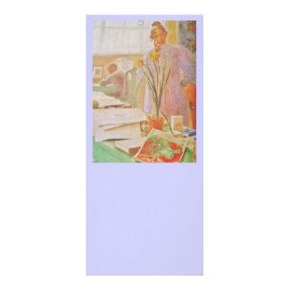 Karin en el estudio tarjeta publicitaria a todo color