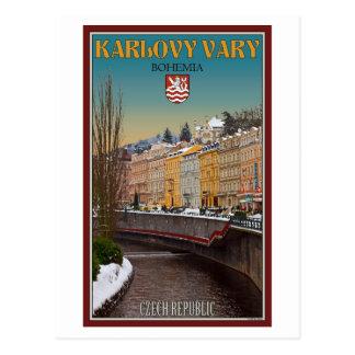 Karlovy varía - invierno del río de Semnice Postal