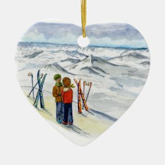 kate y corazón del compromiso de jamie adorno navideño de cerámica en forma de corazón