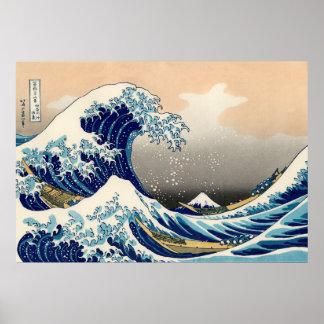 KATSUSHIKA HOKUSAI - La gran onda de Kanagawa Póster