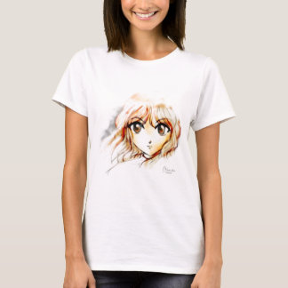 Kawaii grande de los ojos del bosquejo del chica camiseta