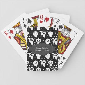 Kawaii Halloween blanco y negro Barajas De Cartas