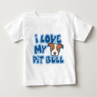 Kawaii mi niño del pitbull de I amor Camiseta Para Bebé