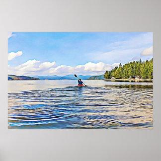 Kayaker en el poster sereno del lago póster