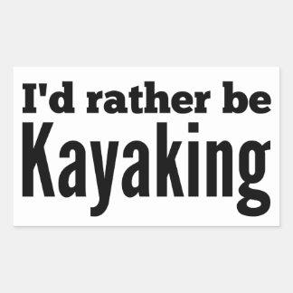 Kayaking bastante pegatina rectangular