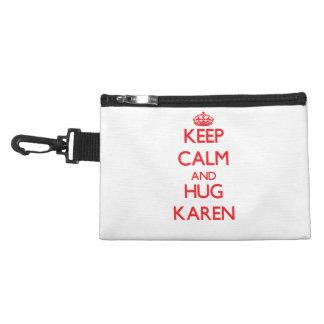 Keep Calm and Hug Karen Accessory Bags