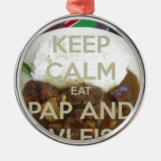 keep-calm-eat-pap-and-vleis.png adorno redondo plateado