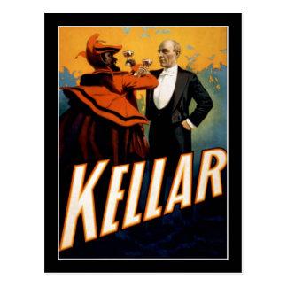 Kellar - mago - poster del teatro del vintage postal