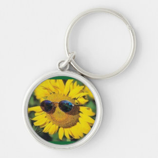 Keychain: Sunflowers for good reason Llavero Redondo Plateado