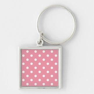 Keychaine de plata: puntos rosados llavero cuadrado plateado