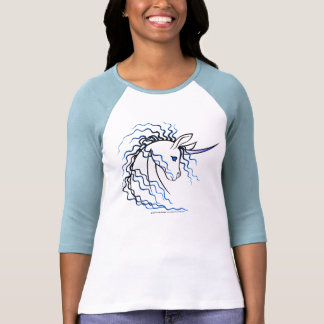 Ki-Rin (unicornio japonés) - azul y negro Camisetas