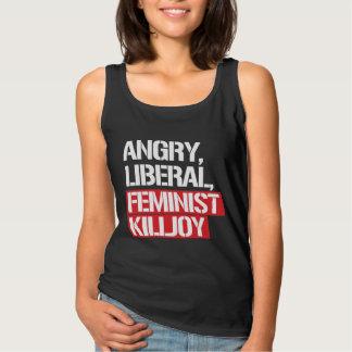 Killjoy feminista liberal enojado --  blanco - camiseta con tirantes