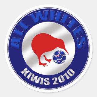 Kiwis 2010 todos los regalos del fútbol de Nueva Pegatina Redonda