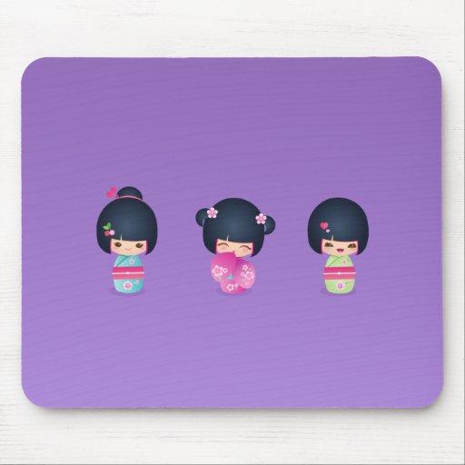 kokeshi tres Mousepad Alfombrilla De Raton
