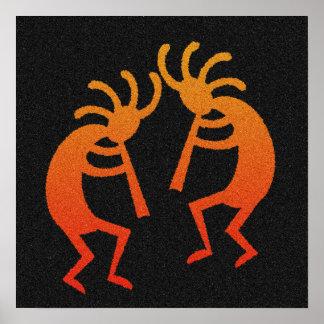 Kokopelli de baile anaranjado y negro póster