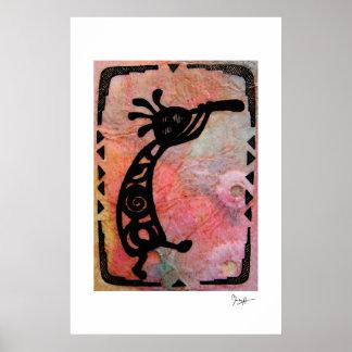 Kokopelli en el papel de arroz y el fondo pintado póster