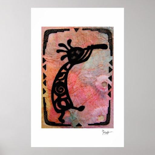 Kokopelli en el papel de arroz y el fondo pintado posters