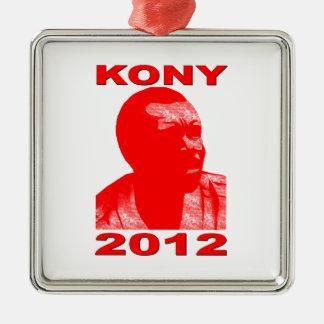 Kony 2012. Haga a los niños invisibles visibles. Adorno Navideño Cuadrado De Metal