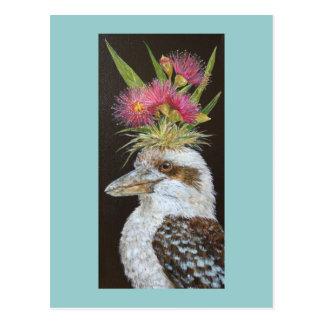Kookaburra con la postal del eucalipto