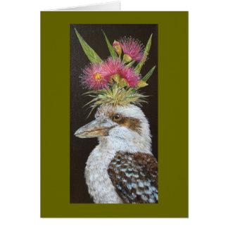 kookaburra con la tarjeta del eucalipto