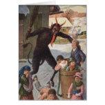 Krampus que castiga invierno de los niños del tarjeta