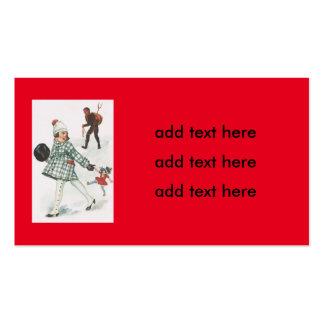 Krampus que persigue a una niña con la muñeca tarjetas de visita