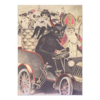 Krampus y sacerdote que conducen con los niños invitación 12,7 x 17,8 cm