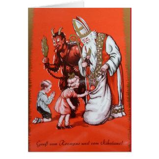 Krampus y tarjeta de San Nicolás