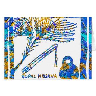 Krishna - flauta, suero de la pluma n del pavo tarjeta pequeña