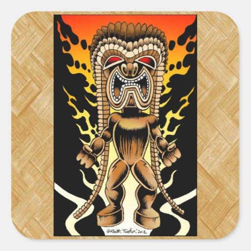 Ku dios hawaiano de tiki pegatina cuadrada zazzle for Tiki hawaiano