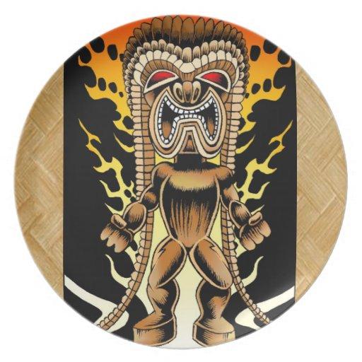 Ku dios hawaiano de tiki platos zazzle for Tiki hawaiano