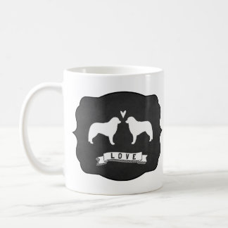 Kuvasz siluetea amor taza de café