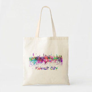 Kuwait City skyline in watercolor Bolso De Tela