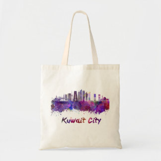 Kuwait City V2 skyline in watercolor Bolso De Tela