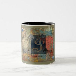 L inicial taza de café de dos colores