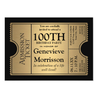 La 100a fiesta de cumpleaños del estilo de oro del invitación
