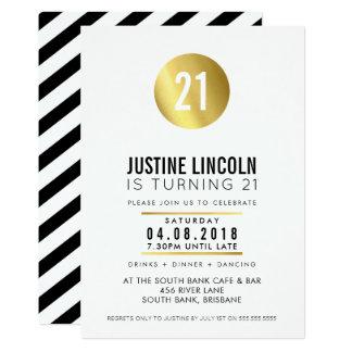 La 21ra fiesta de cumpleaños MODERNA INVITA a Invitación 12,7 X 17,8 Cm