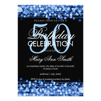 La 50.a fiesta de cumpleaños elegante chispea azul anuncios