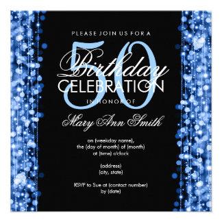 La 50.a fiesta de cumpleaños elegante chispea azul invitaciones personales