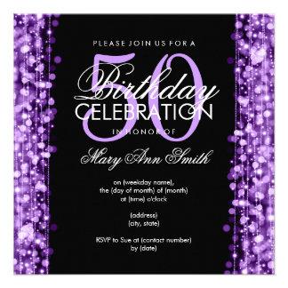 La 50.a fiesta de cumpleaños elegante chispea púrp invitaciones personales