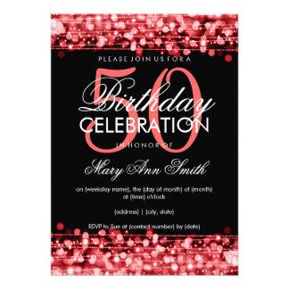 La 50.a fiesta de cumpleaños elegante chispea rojo comunicado personalizado
