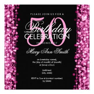 La 50.a fiesta de cumpleaños elegante chispea rosa comunicado personal