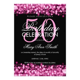 La 50.a fiesta de cumpleaños elegante chispea rosa comunicados personalizados