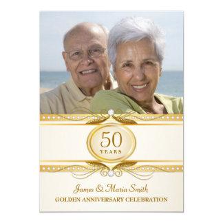 La 50.a foto de oro del aniversario de boda invita invitación 12,7 x 17,8 cm