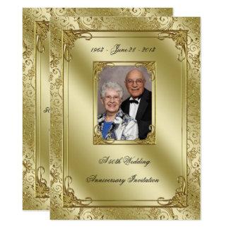 La 50.a foto elegante del aniversario de boda invitación 16,5 x 22,2 cm