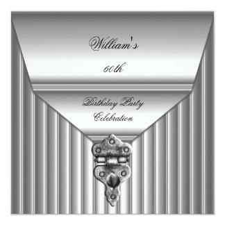 La 60.a cerradura para hombre elegante de la invitación 13,3 cm x 13,3cm