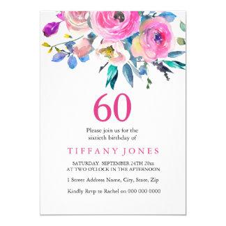 La 60.a fiesta de cumpleaños floral colorida invitación 12,7 x 17,8 cm