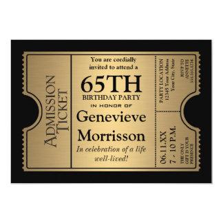 La 65.a fiesta de cumpleaños del estilo de oro del invitación 12,7 x 17,8 cm