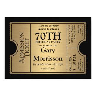 La 70.a fiesta de cumpleaños del estilo de oro del invitaciones personalizada