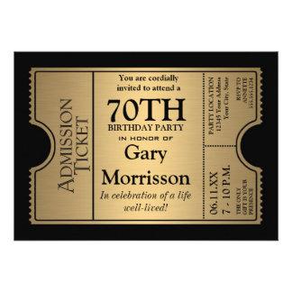 La 70 a fiesta de cumpleaños del estilo de oro del invitacion personalizada